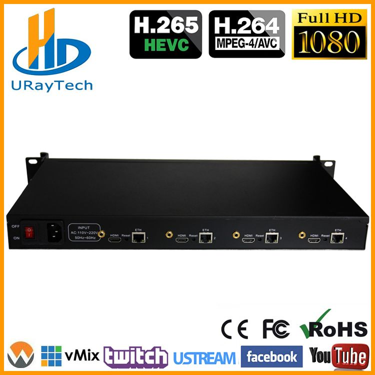 URay 4 Kanäle HEVC H.265 H.264 HDMI IP Video Streaming Encoder/Sender IPTV Encoder H265 Unterstützung RTSP RTMP UDP HLS