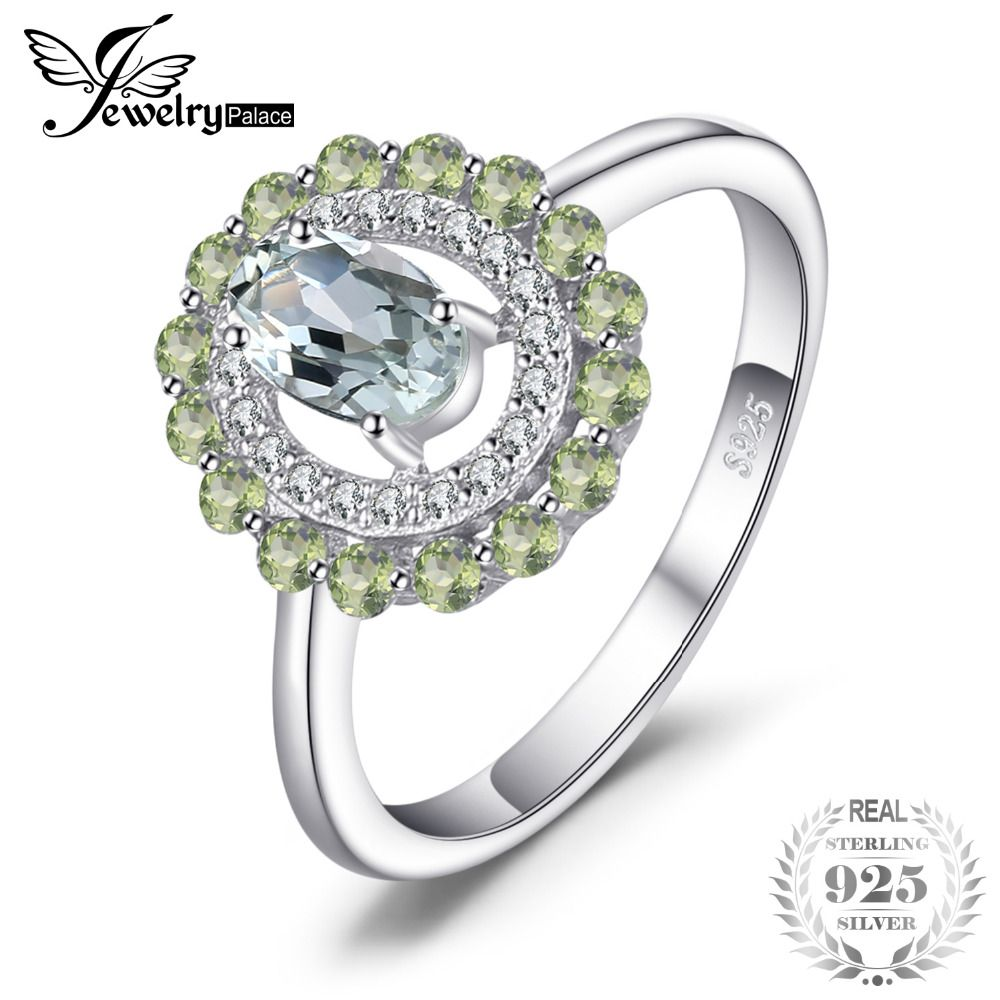 JewelryPalace Fashion 1ct Genuine Round Peridot Oval Green Amethyst Ring 925 Sterling Silver New For Women Unique Gift