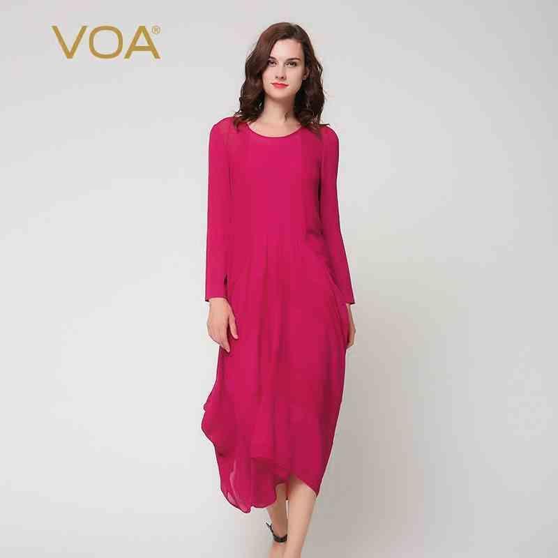 VOA Red Silk Casual Dresses Women 2017 Solid Long Sleeve O-Neck Chiffon Asymmetrical Special Design Vestidos Mujer
