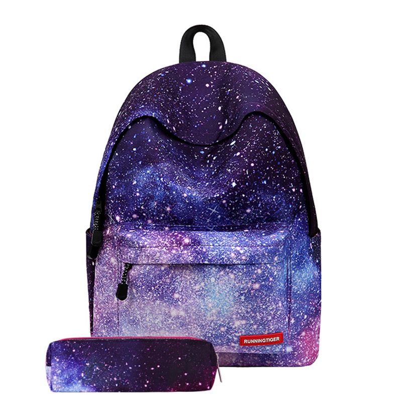 Для женщин высокое качество рюкзаки для девочек Stars Вселенная Космос Печать на холсте сумки женские сумка Mochilas feminina школьный