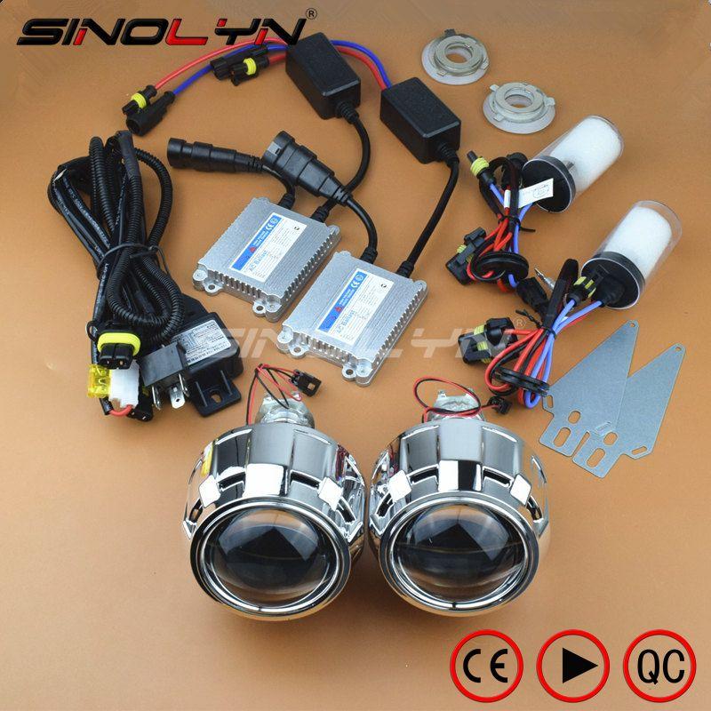 SINOLYN 2.5 inches HID Bi xenon Headlight Projector Lens LHD/ RHD Full Retrofit Car Styling Kit Lenses H4 H7 4300K 6000K 8000K