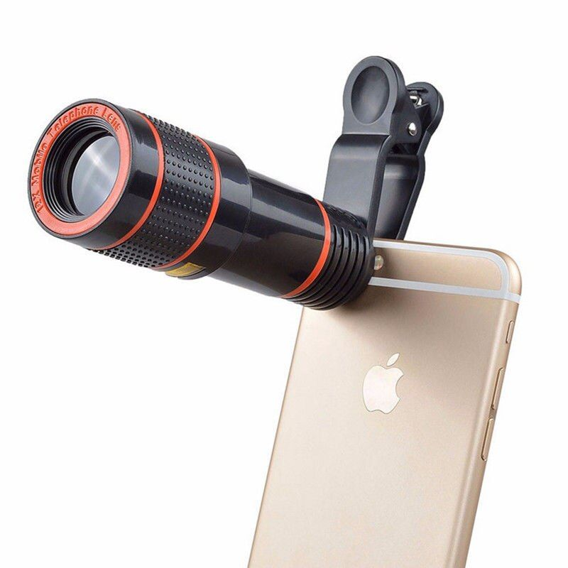 HD 12X Zoom Optical Telescope Camera Lens with Clips Mobile Phone Telephoto Lens For iphone 6 7 8 X Universal Mobile Phone