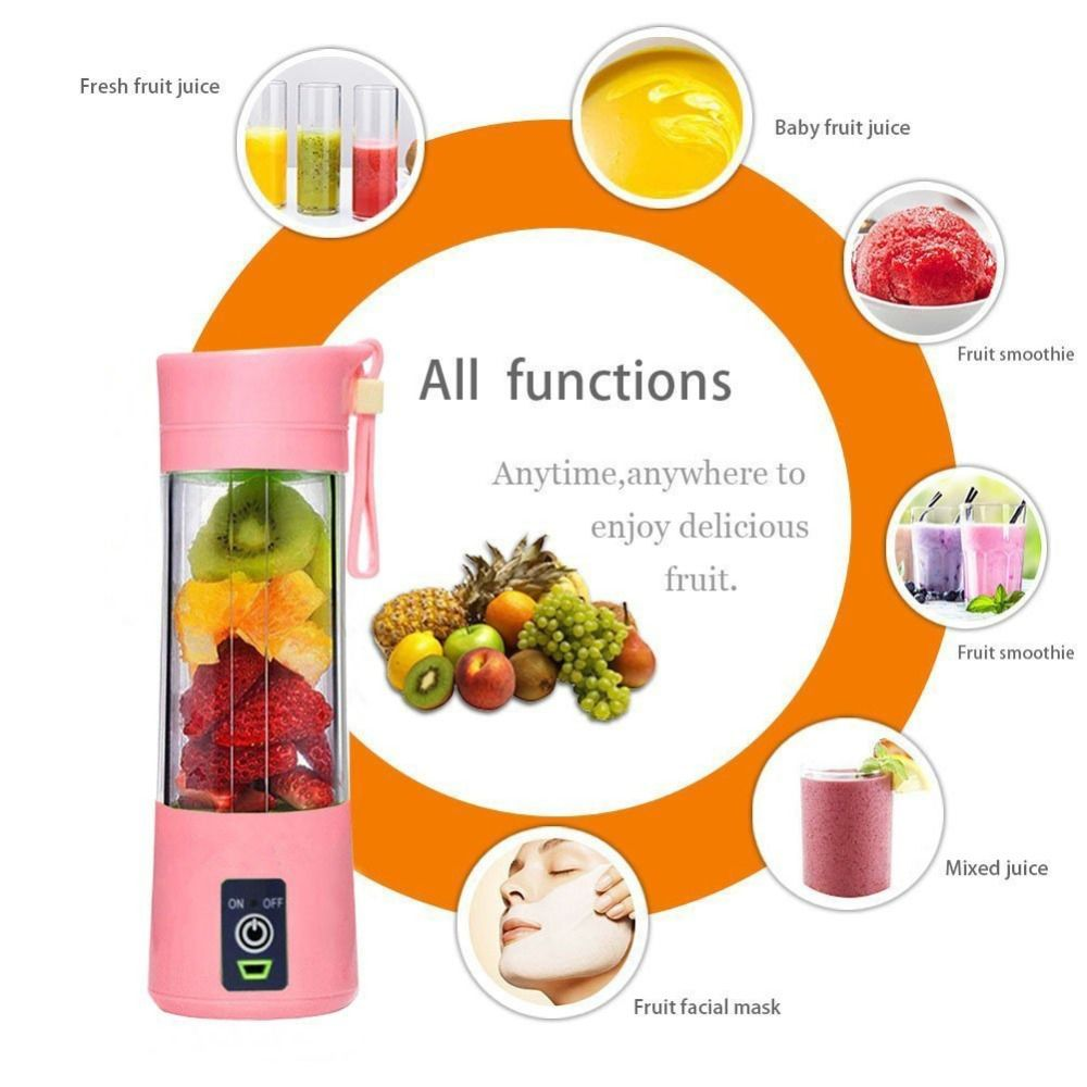 380ml Portable Juicer Electric USB Rechargeable Smoothie Blender Machine Mixer Mini Juice Smoothie Maker Blenders Household