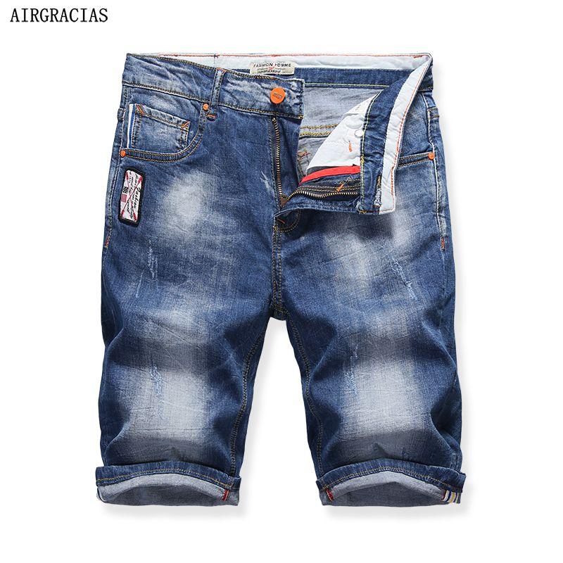 AIRGRACIAS Nouvelle Mode Mens Jeans Courts Marque Vêtements Bermuda D'été Board Shorts Respirant Denim Coton Shorts Mâle X321