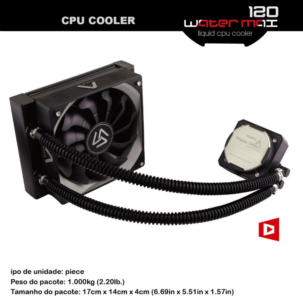 ALSEYE CPU Liquid / Water Cooler PWM 120mm Fan TDP 280W Copper base Water Cooling for LGA775/115X/1366/2011/AM2/AM3/AM3+/AM4