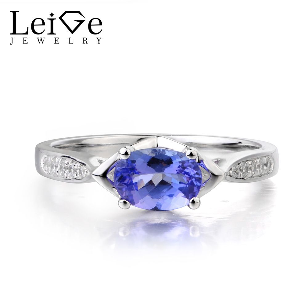 Leige Jewelry Natural Oval Cut Tanzanite Ring Elegant Wedding Ring Solid 925 Sterling Silver December Birthstone Vintage Ring