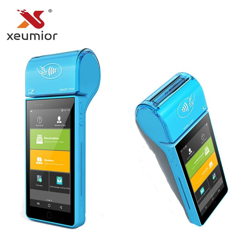 Android 7.0 Smart EMV Mobile POS Machine Payment Terminal Portable Mini Mobile POS System with Thermal Printer Qr code Scanner