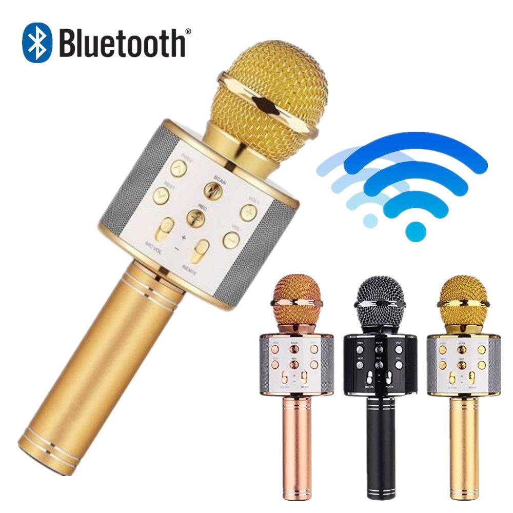 WS 858 wireless microphone professional condenser karaoke mic bluetooth stand radio mikrofon studio recording studio WS858