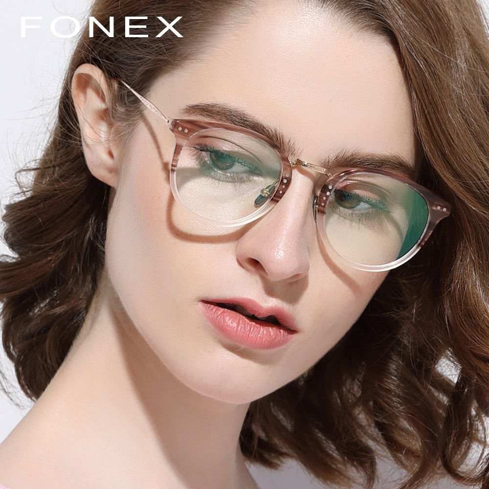 Pure Titanium Glasses Frame Men 2018 Vintage Round Ultralight Eyeglasses Prescription Myopia Optical Frame Women Acetate Eyewear