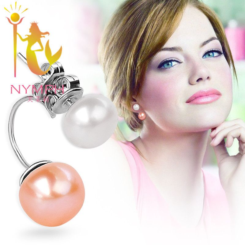 NYMPH Double Pearl Earrings 925 Sterling Silver Jewelry Natural freshwater Stud Earrings Wedding Party Gift For Girl Women E108