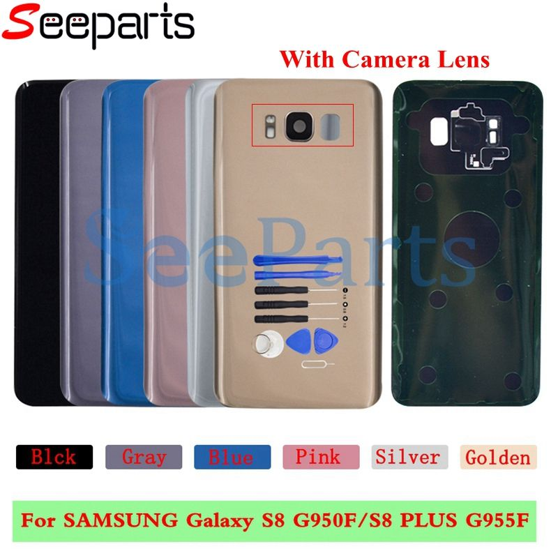 For SAMSUNG Galaxy S8 G950F/S8 Plus G955F Back Battery Cover With Camera Lens Housing Case Replace For SAMSUNG S8 Battery Cover