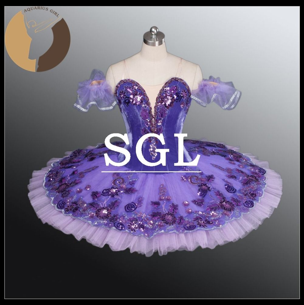 Adult Purple Tutu Skirts Women Professional Ballet Tutus For Dance Show Stage Costume For Spanish Dnace Lilac Fairy AT1163