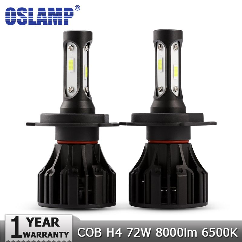 Oslamp H4 LED Headlight Bulbs COB Car Led Bulb Hi Lo 72W 8000lm Auto Headlamp Led Light 12v 24v for Nissan Renault Golf Chery