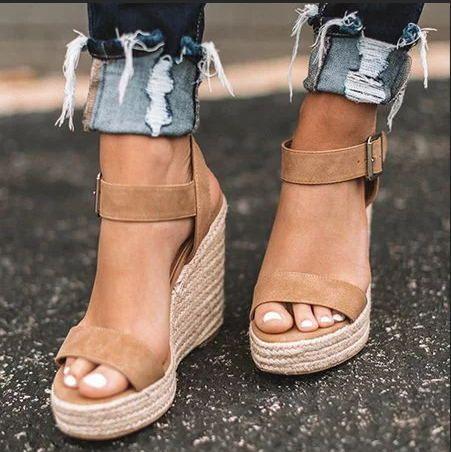 EOEODOIT chaussures compensées d'été sandales femmes talons hauts plate-forme chaussures confortables bout ouvert ascenseur sandale compensée grande taille 10 cm femme