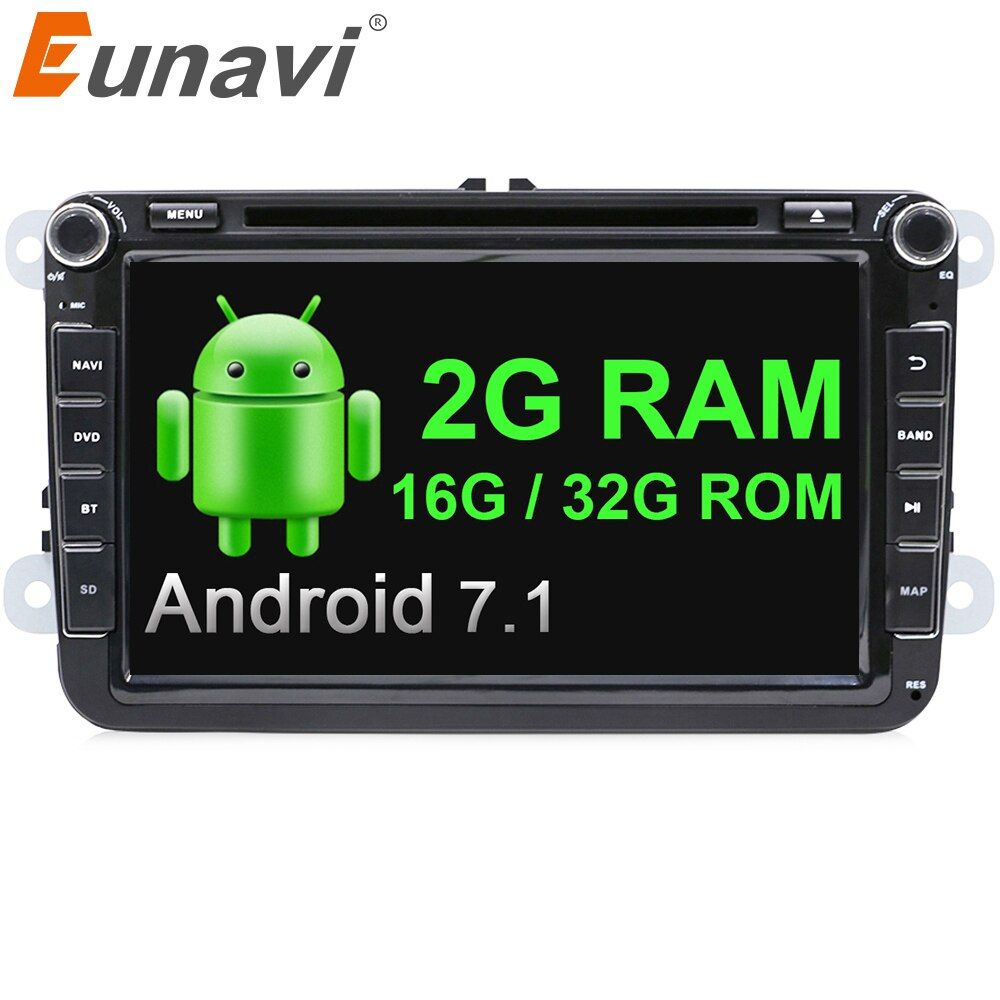 Eunavi 2 din 8'' Android 7.1 VW Car DVD player for VW Tiguan Polo Golf Passat B6 Jetta skoda seat wifi GPS Stereo Radio in dash