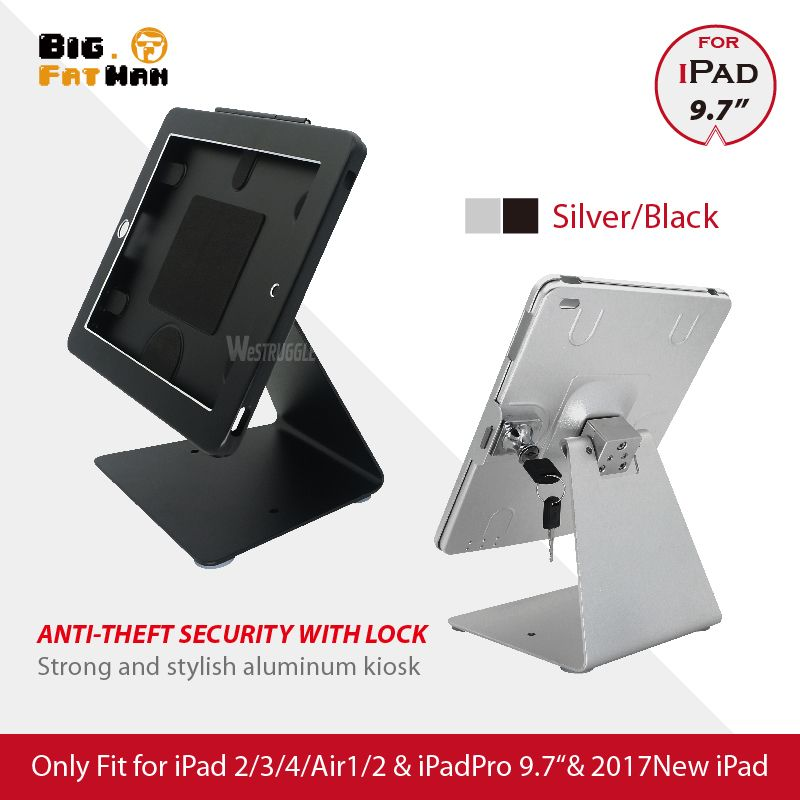 Desktop Holder For iPad 2 3 4 air Pro 9.7&2017 Anti-theft Stand Enclosure Security with key tablet holder Flip Multi-angle box