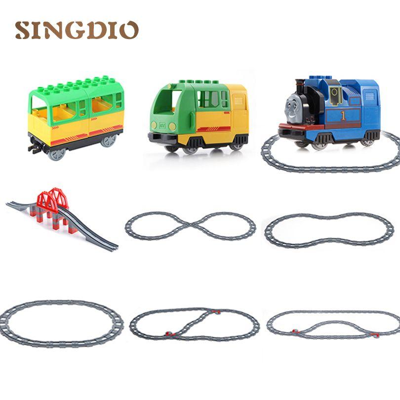 Thomas Voie Ferrée Jouets Transport Croix/Droite/Courbe transfert Rail Blocs de Construction Compatible avec dduplo jouet éducatif