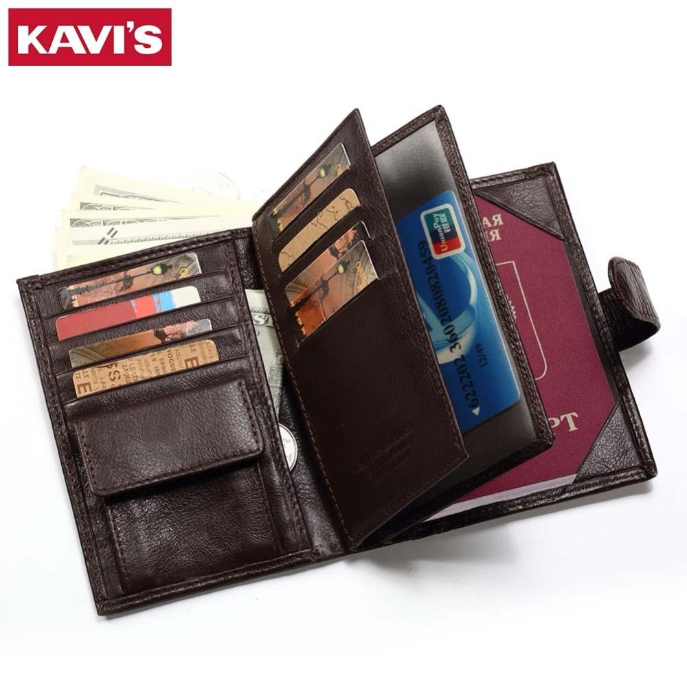 KAVIS Genuine Leather Wallet Men Passport Holder Coin Purse Rfid Magic Walet PORTFOLIO MAN Portomonee Mini Vallet Passport Cover