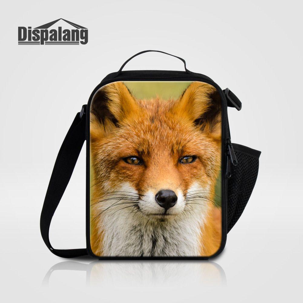 Dispalang Новые Портативные Тепловые Сумки Обед Для Женщин Fox Дизайн Мужчины Кулер Сумки Студенты Небольшой Lancheira Школы Lunchbox