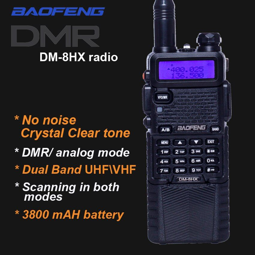 2018 New Digital Walkie Taklie DM-8HX Dual Band DMR Transceiver vhf uhf Radio sister Baofeng DM-5R Plus MD-380 DM5R uv 5r uv-9r