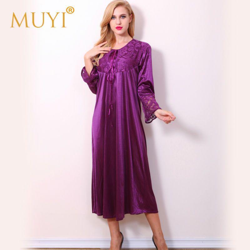 Longues de nuit vêtements de Nuit Des Femmes Chemises de Nuit Femme de Nuit Robe de Nuit Robe Plus La Taille Sexy Robe de Chambre Pleine Manches Chemise de Nuit