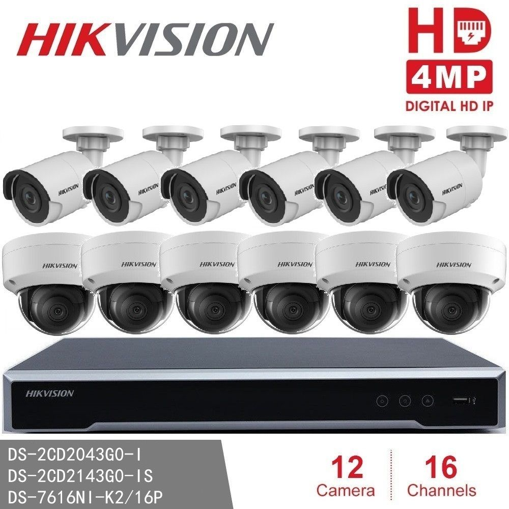 Hikvision Sicherheit Kamera Kits DS-7616NI-K2/16 P 16POE NVR & DS-2CD2043G0-I Kugel Outdoor & DS-2CD2143G0-IS Indoor 4MP IP Dome