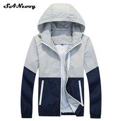 2018 delgada chaqueta con capucha hombres Windbreaker primavera otoño chaquetas para hombre con capucha Casual Hombre chaquetas Outwear para pareja