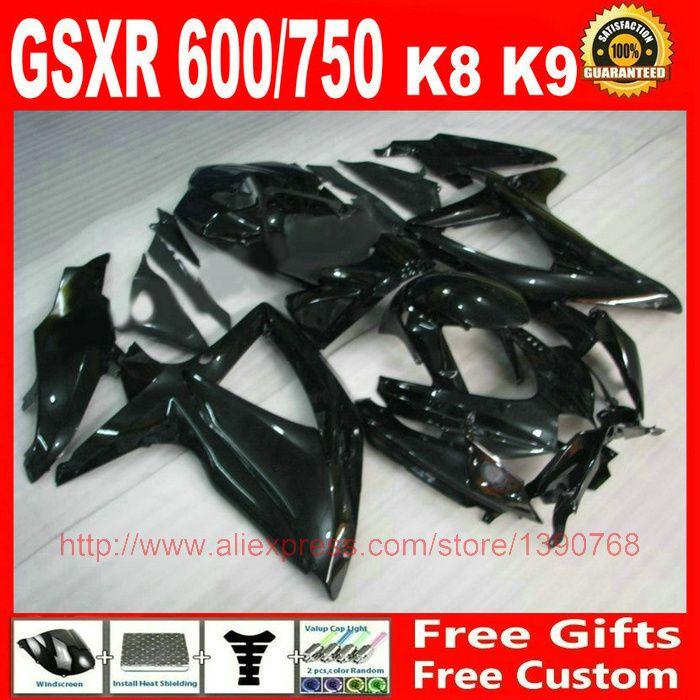 + Fairing kit for Suzuki GSXR600 GSXR 750 08 09 10 all glossy black ABS fairings set K8 K9 GSXR 600 750 2008 2009 2010 GZ60