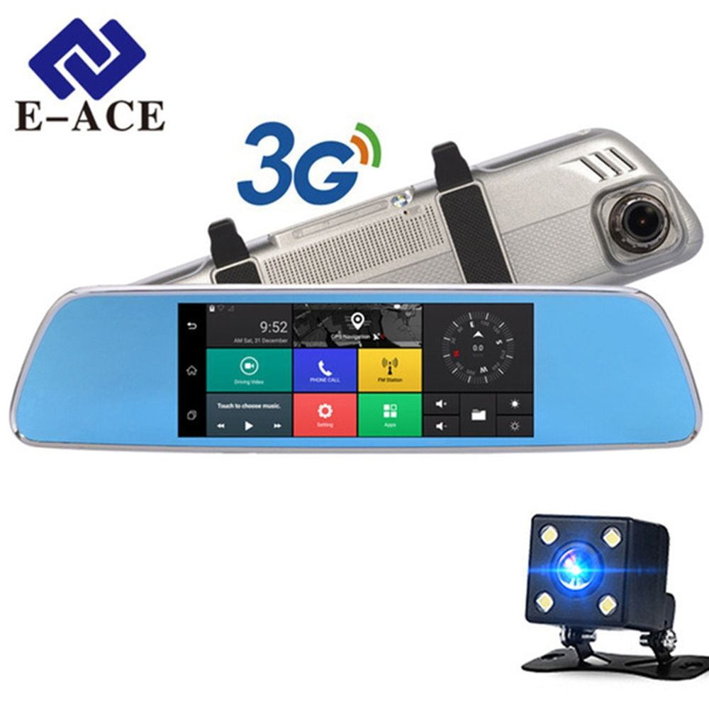 E-ACE 3G Car 7  GPS Dash cam Rearview Mirror With DVR And Camera Android 5.0 FHD 1080P Video WIFI Navigation Recorder Registrar