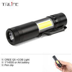 Mini Portable Led lampe de Poche CREE Q5 COB Travail Lumière Lampe Étanche Linterna Rechargeable Lanterna pour 14500 ou AA Batterie