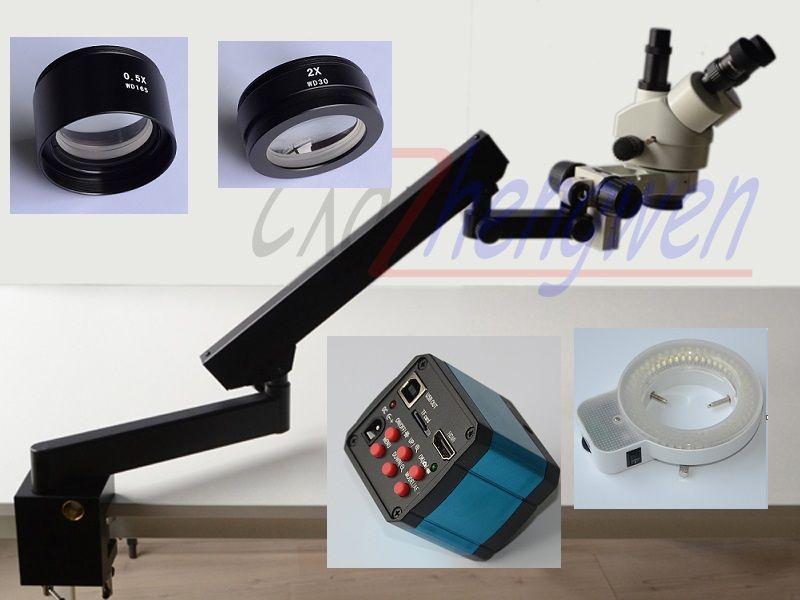 FYSCOPE 3.5X-90X Trinocular Articulating Arm Pillar Clamp 144-LED Zoom Stereo Microscope+14MP HDMI camera+144 LED Light