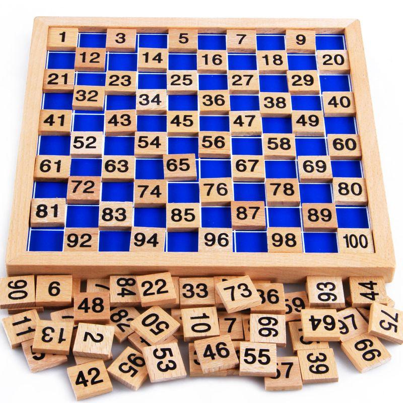 Montessori matériaux éducatifs en bois jouets 1-100 chiffres cognitifs mathématiques jouet enseignement logarithme Version enfant cadeau d'apprentissage précoce