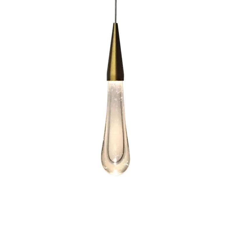 LED Water Drop pendant light minimalist Scandinavian loft Crystal & metal Hanging Lamp Nordic art and creative restaurant light