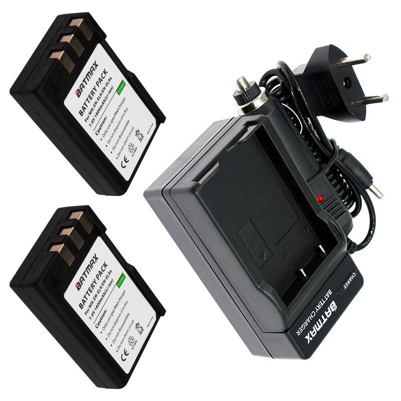2 pièces 1800 mAh EN-EL9 EN EL9 EN-EL9a EN EL9a EL9a Caméra Li-ion Batterie & Chargeur Kit pour Nikon EN-EL9a D40 D60 D40X D5000 D3000