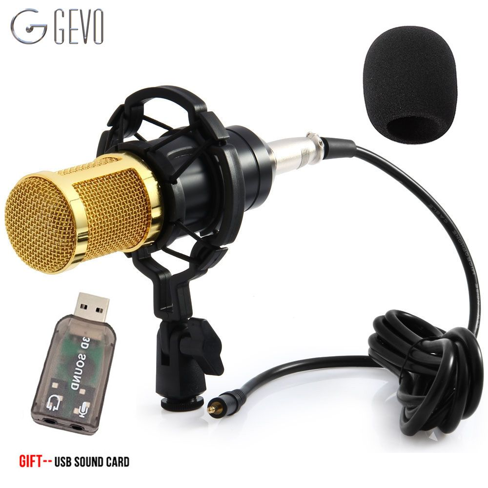 GEVO BM 800 Condenser Microphone For Computer Wired 3.5mm XLR Cable With Shock Mount Studio Microphone For PC Karaoke BM800 Mic