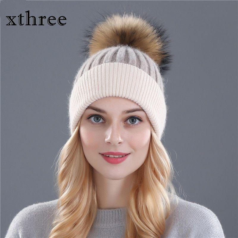 Xthree Зимняя шерстяная вязаная шапка шапочки реального норки помпонами Skullies Hat для женщин девочек шляпа feminino