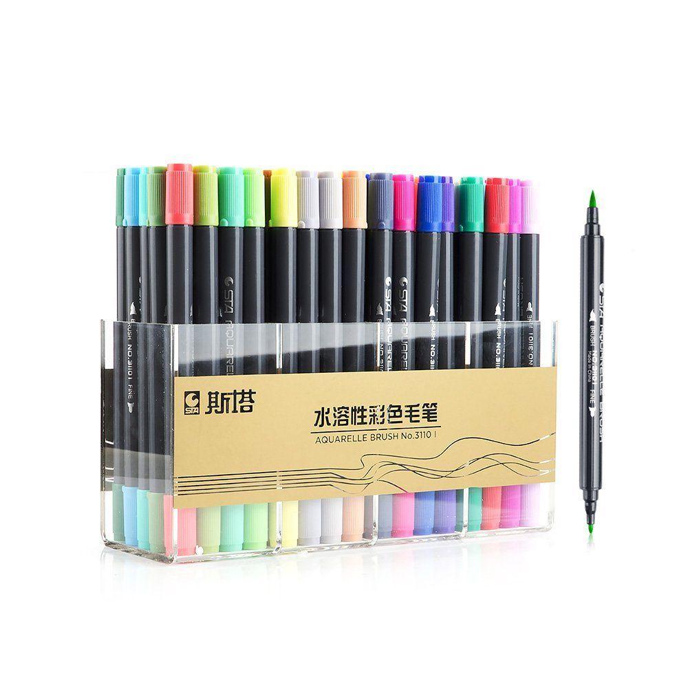 Dessin graphique de qualité supérieure Manga encre à base d'eau double pointe double stylo marqueur de croquis, lot de 12/24/36/48/80 couleurs