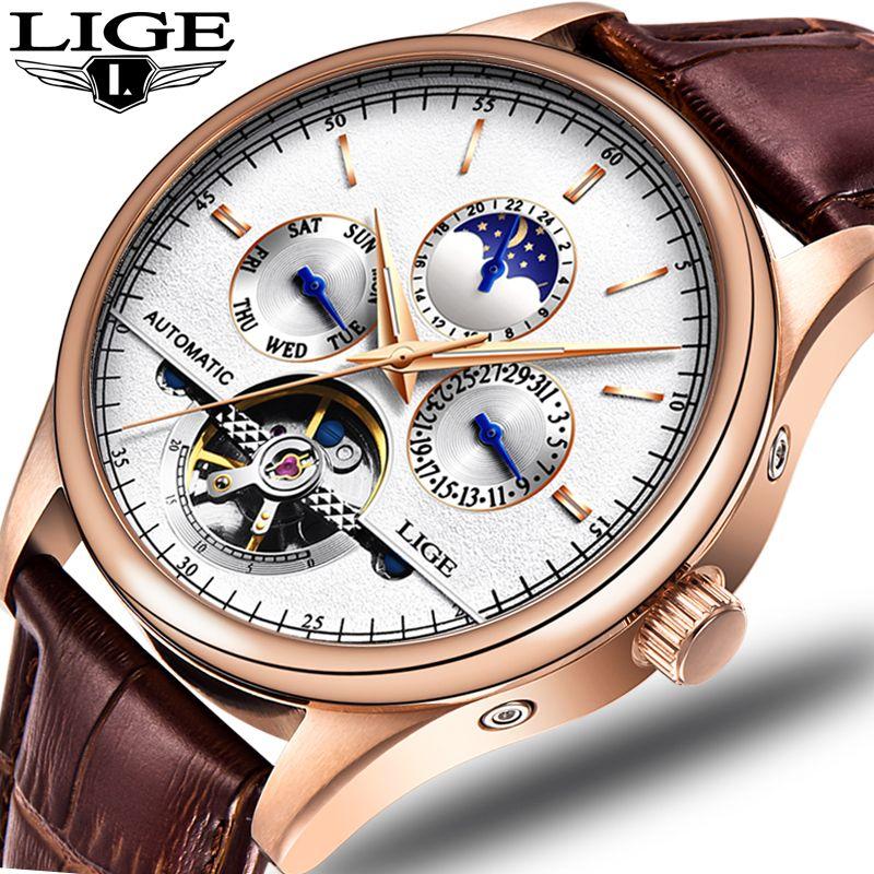 LIGE Fashion Luxury Brand leather Tourbillon Watch Automatic Men Wristwatch Men Mechanical steel Watches relogio masculino +BOX