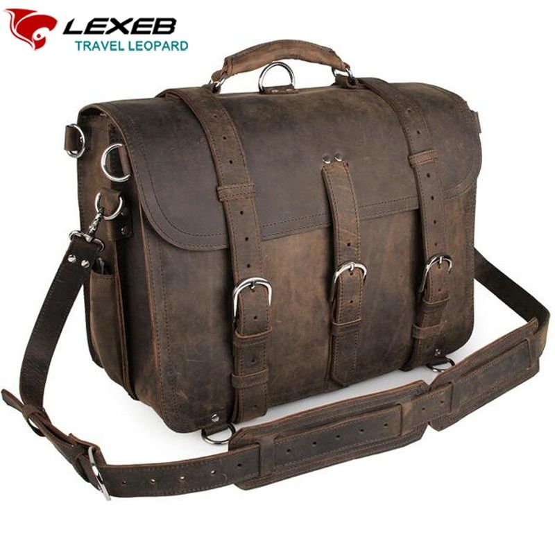 LEXEB Brand Vintage Men's Top Quality Full Grain Leather Briefcase / Shoulder Bag / Messenger Bag / Satchel Fit 16'' Laptop