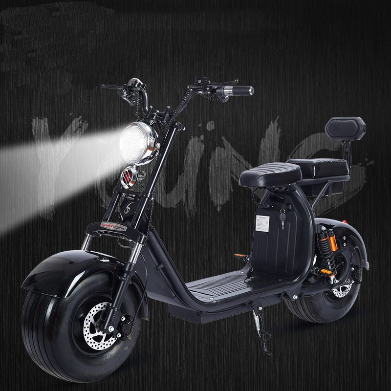 1500W 60V Electric Motorcycle Citycoco Double Lithium Battery Fashion Car Simple Operation