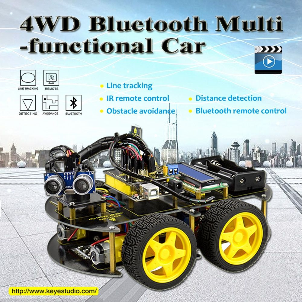Keyestudio 4WD Bluetooth Multi-functional DIY Smart Car For Arduino <font><b>Robot</b></font> Education Programming+User Manual+PDF(online)+Video