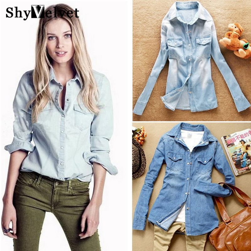 Hot sale European style women denim blouse slim jeans shirt lady's elegant quality blouse 2018 spring fashion denim blouse