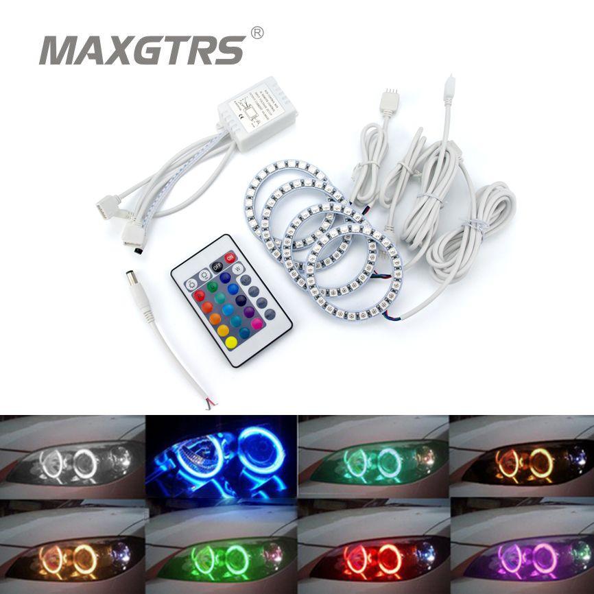 2x Multi-Color 60mm 70mm 80mm 90mm 100mm 120mm Angel Eyes 5050 RGB Halo Rings LED Bulb Flash Car Headlight DRL With IR Control