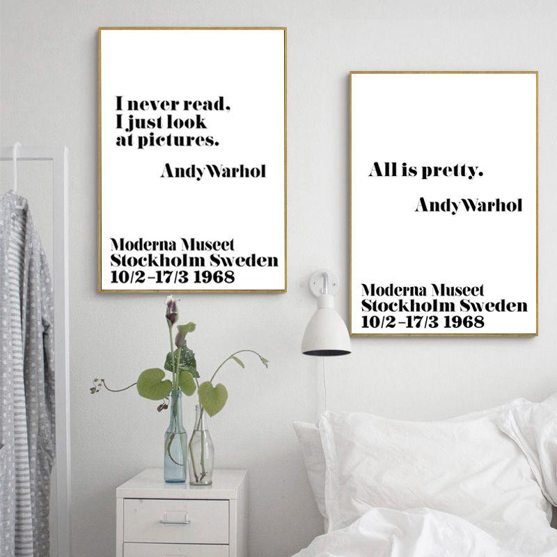 Плакат Плакаты и отпечатки стены Книги по искусству холст картины Энди Уорхол Книги по искусству кавычки настенные панно для Гостиная Nordic п...