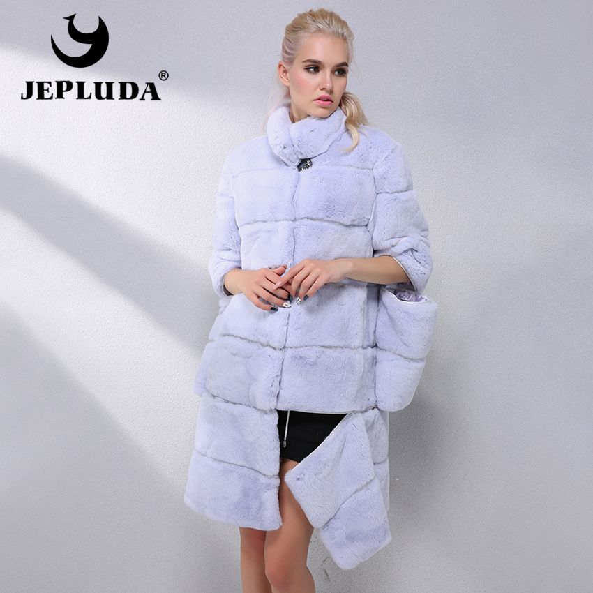 JEPLUDA Elegant Women Various colors Natural Real Rex Rabbit Fur Coat Sleeve and Hem Detachable Real Fur Coat Warm Fur Jacket