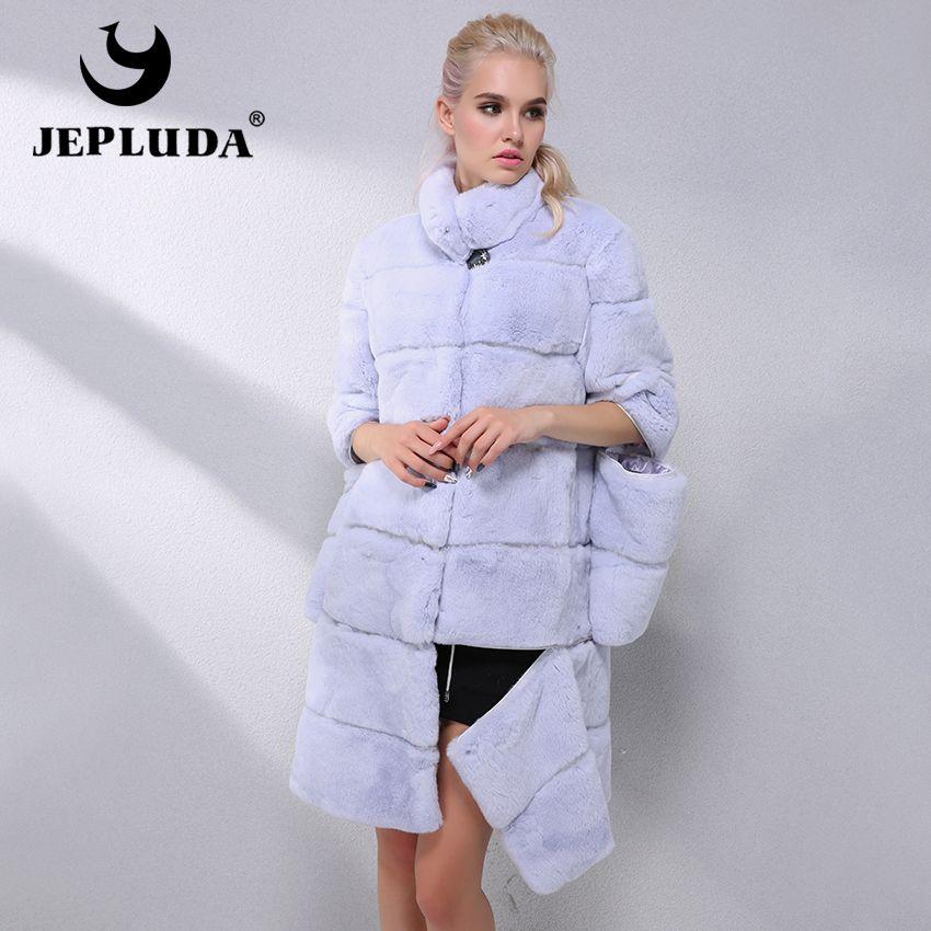 JEPLUDA Elegant Women Various colors Natural Real Rex Rabbit Fur Coat Sleeve and Hem Detachable Real Fur Coat Warm Fur Jacket
