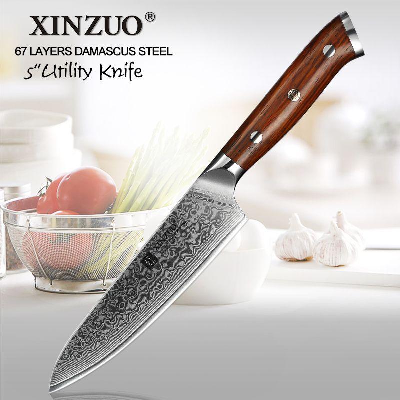 XINZUO 5 pouces couteau utilitaire 67 couches japonais couteau de cuisine en acier damas marque Top vente couteaux de séparation avec manche en palissandre
