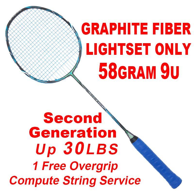 Hohe Qualität 9U 58 Gramm Badminton Schläger Zweiten Generation Super Leichteste Graphit Faser Carbon Schläger 30LBS Für Profesional
