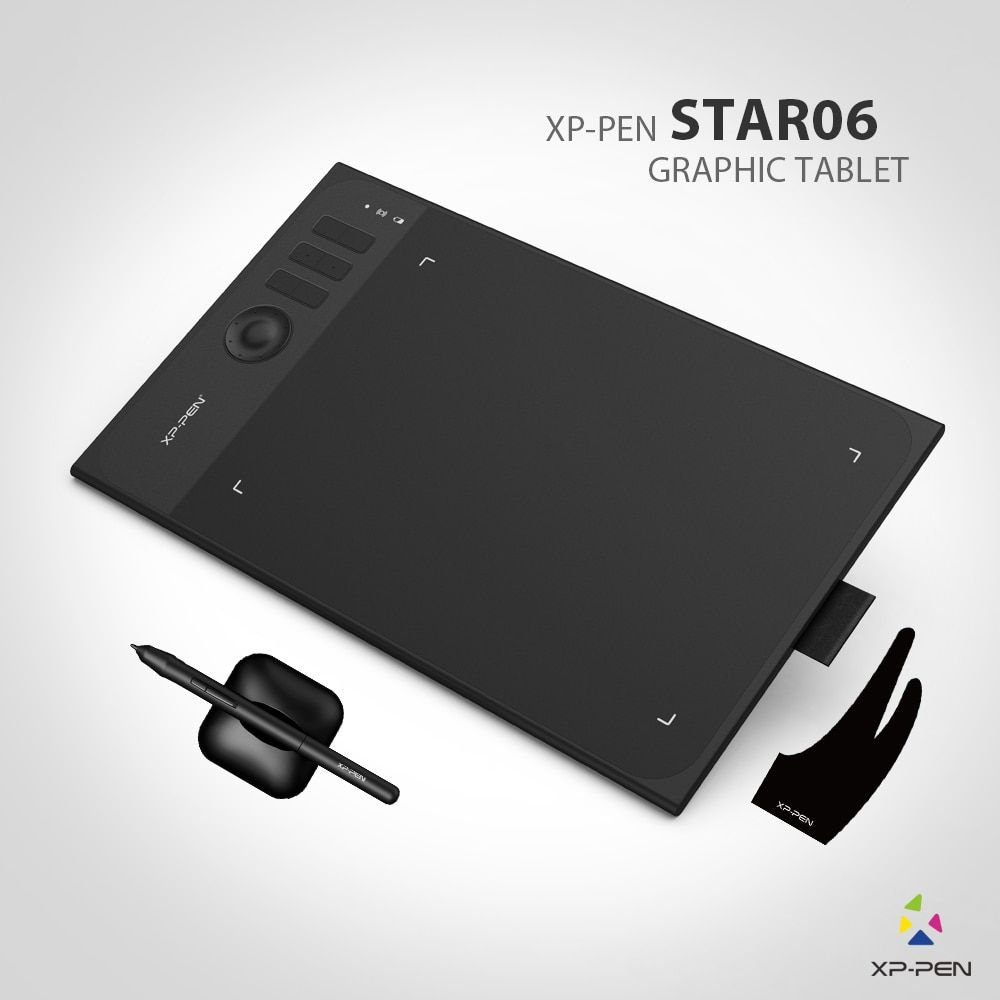 New XP-Pen Star06 Wireless <font><b>2.4G</b></font> Graphics Drawing Tablet Painting Board with 8192 levels Battery-free Passive Stylu