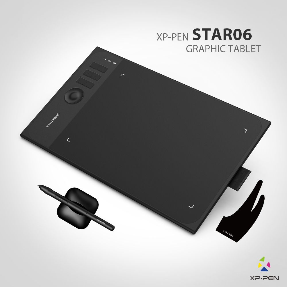 New XP-Pen Star06 Wireless 2.4G Graphics Drawing Tablet Painting Board with 8192 levels Battery-free Passive Stylu